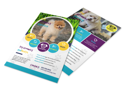 Playful Dog Grooming Flyer Template preview