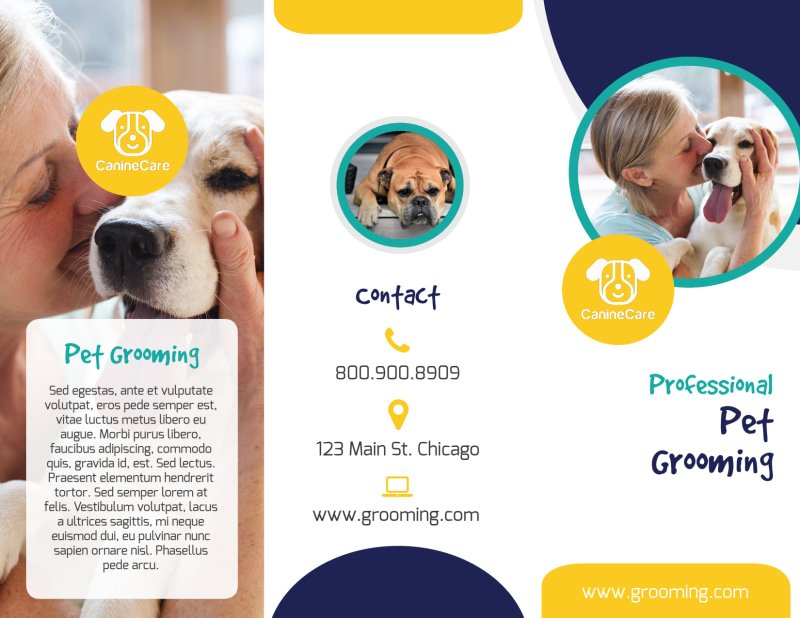 Clean Dog Grooming Tri-Fold Brochure Template Preview 2