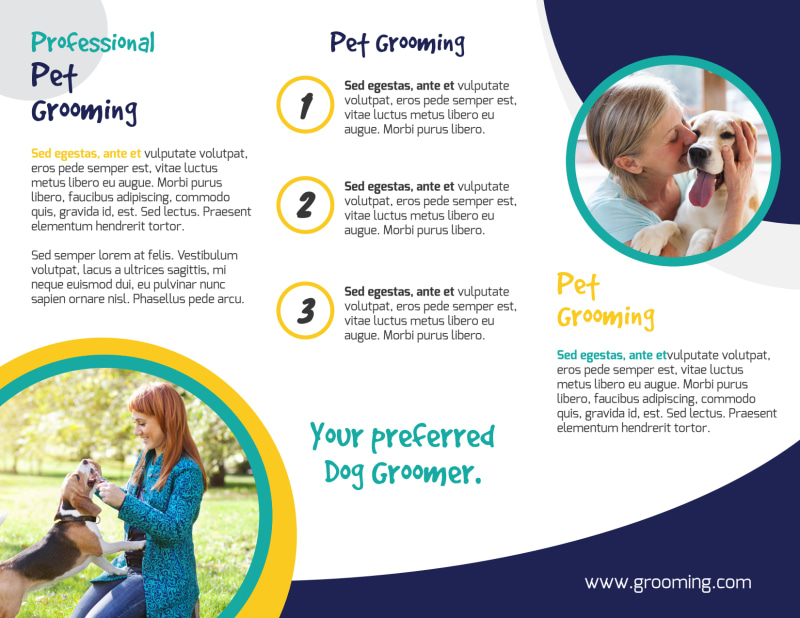 Clean Dog Grooming Tri-Fold Brochure Template Preview 3