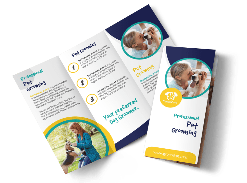 Clean Dog Grooming Tri-Fold Brochure Template Preview 1