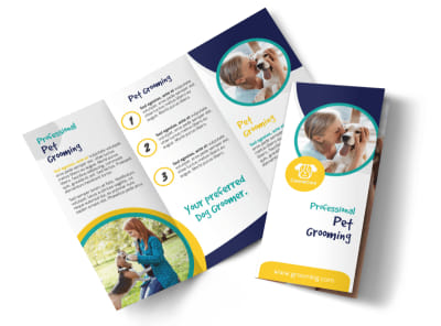 Clean Dog Grooming Tri-Fold Brochure Template preview