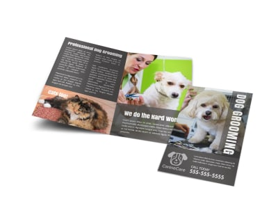 Professional Dog Grooming Bi-Fold Brochure Template preview