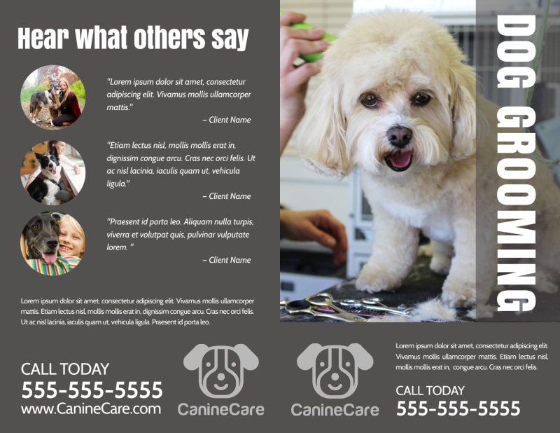 Professional Dog Grooming Bi-Fold Brochure Template Preview 2