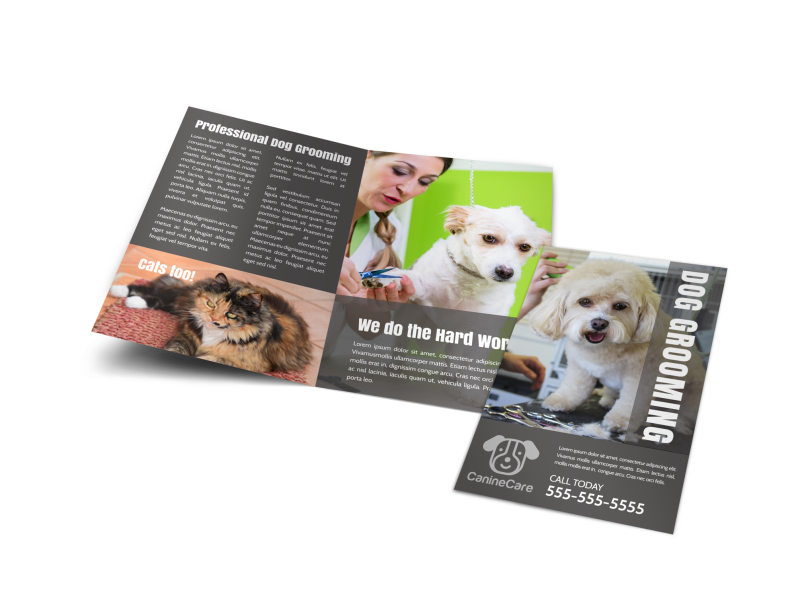 Professional Dog Grooming Bi-Fold Brochure Template Preview 1