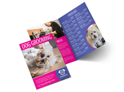 Pink Dog Grooming Bi-Fold Brochure Template preview