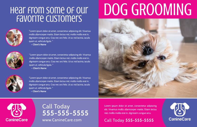 Pink Dog Grooming Bi-Fold Brochure Template Preview 2