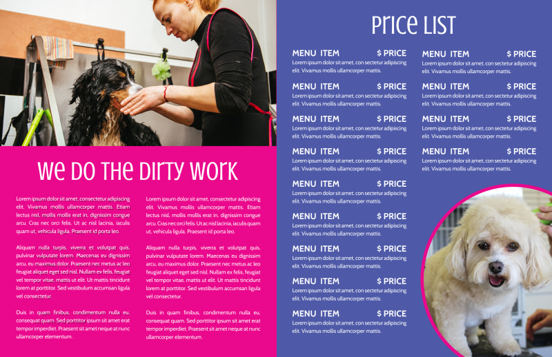 Pink Dog Grooming Bi-Fold Brochure Template Preview 3