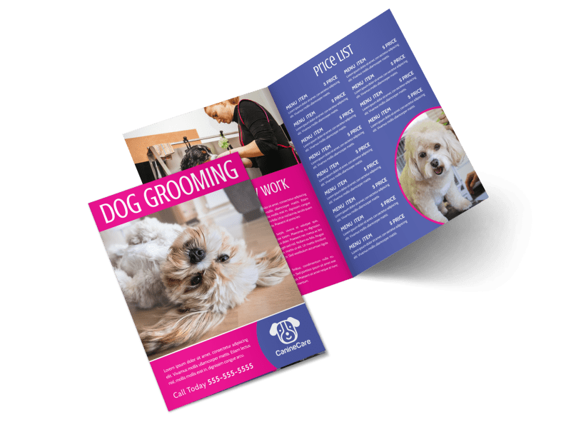Pink Dog Grooming Bi-Fold Brochure Template Preview 1