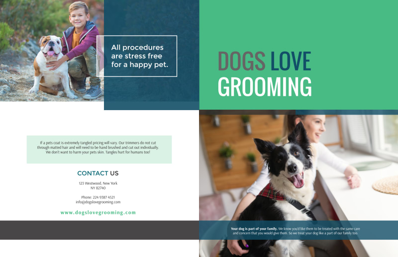 Clean Dog Grooming Bi-Fold Brochure Template Preview 2