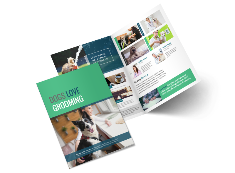Clean Dog Grooming Bi-Fold Brochure Template Preview 1