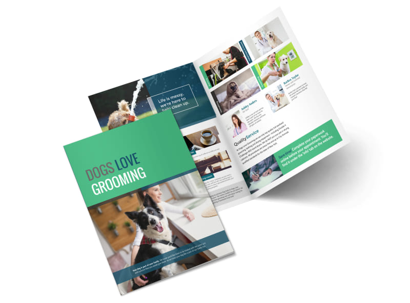 Clean Dog Grooming Bi-Fold Brochure Template Preview 4