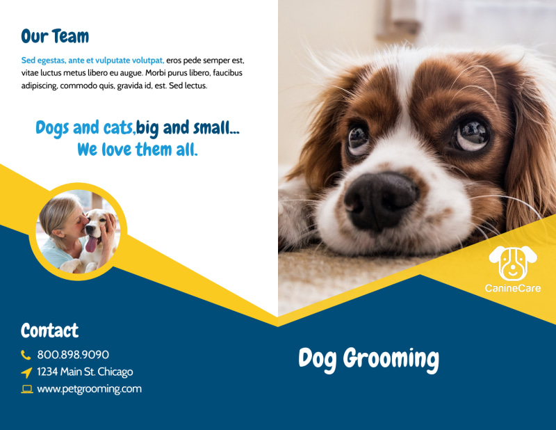 Adorable Dog Grooming Bi-Fold Brochure Template Preview 2