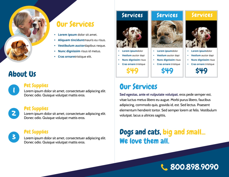 Adorable Dog Grooming Bi-Fold Brochure Template Preview 3