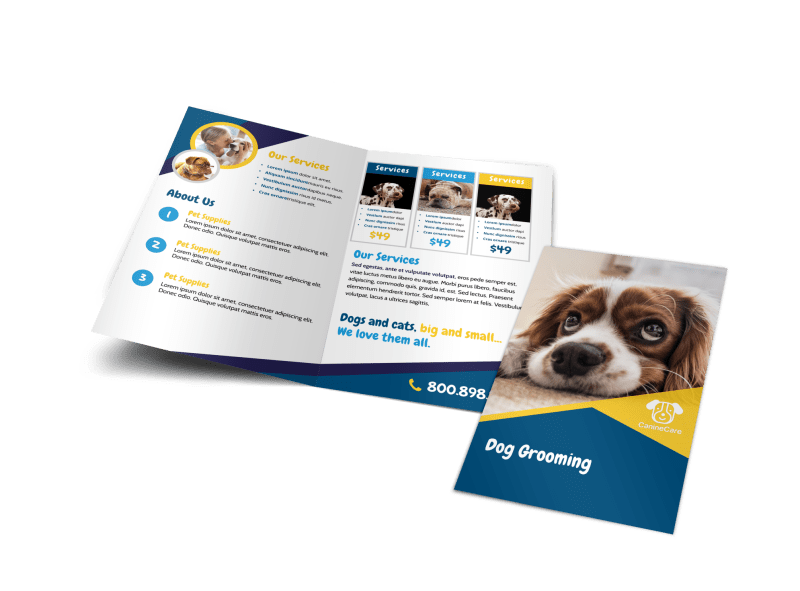 Adorable Dog Grooming Bi-Fold Brochure Template Preview 1