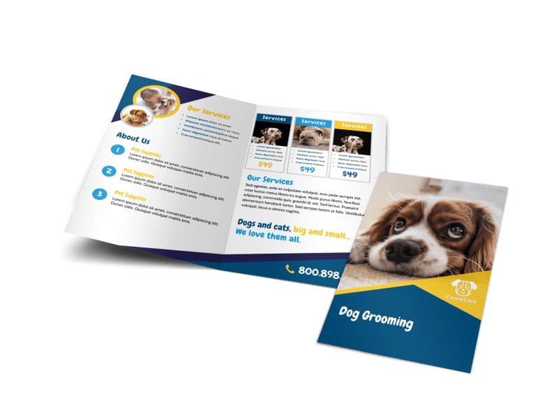 Adorable Dog Grooming Bi-Fold Brochure Template
