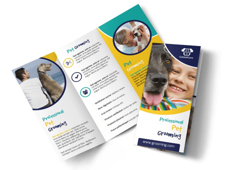 Fun Dog Grooming Tri-Fold Brochure Template