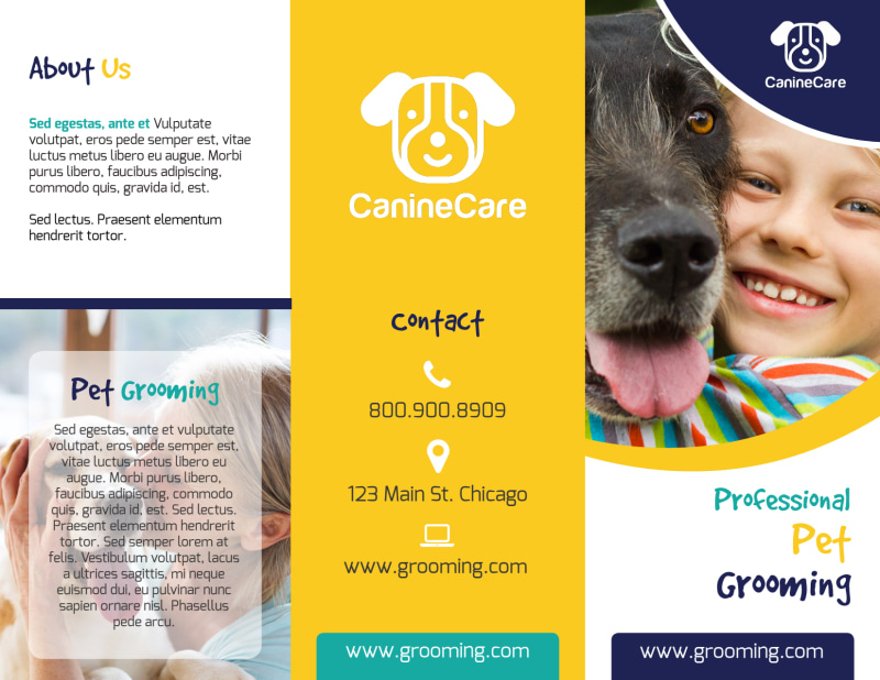 Fun Dog Grooming Tri-Fold Brochure Template Preview 2