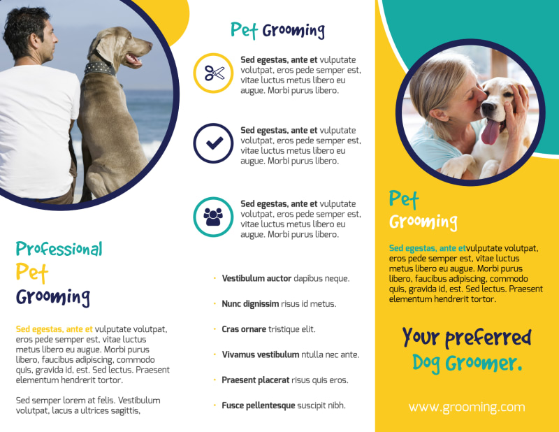 Fun Dog Grooming Tri-Fold Brochure Template Preview 3