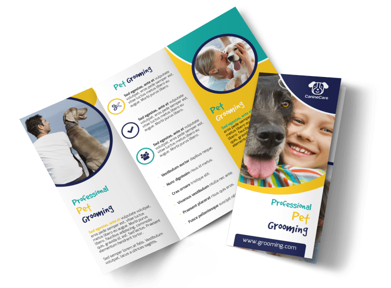 Fun Dog Grooming Tri-Fold Brochure Template Preview 1