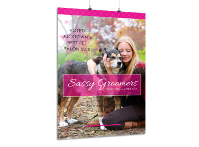 Sassy Dog Grooming Poster Template preview