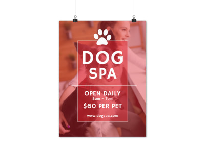 Dog Grooming Spa Poster Template preview