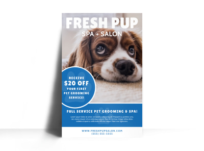 Fresh Dog Grooming Poster Template preview