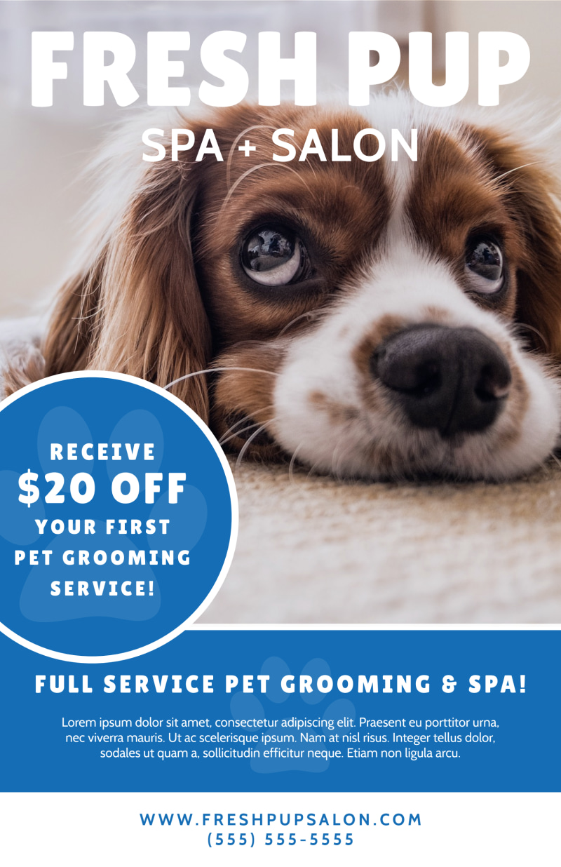 Fresh Dog Grooming Poster Template Preview 2