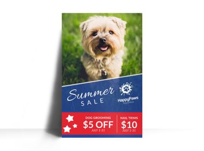 Dog Grooming Summer Sale Poster Template