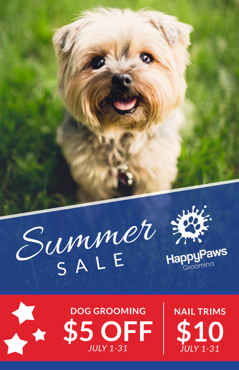 Dog Grooming Summer Sale Poster Template Preview 2