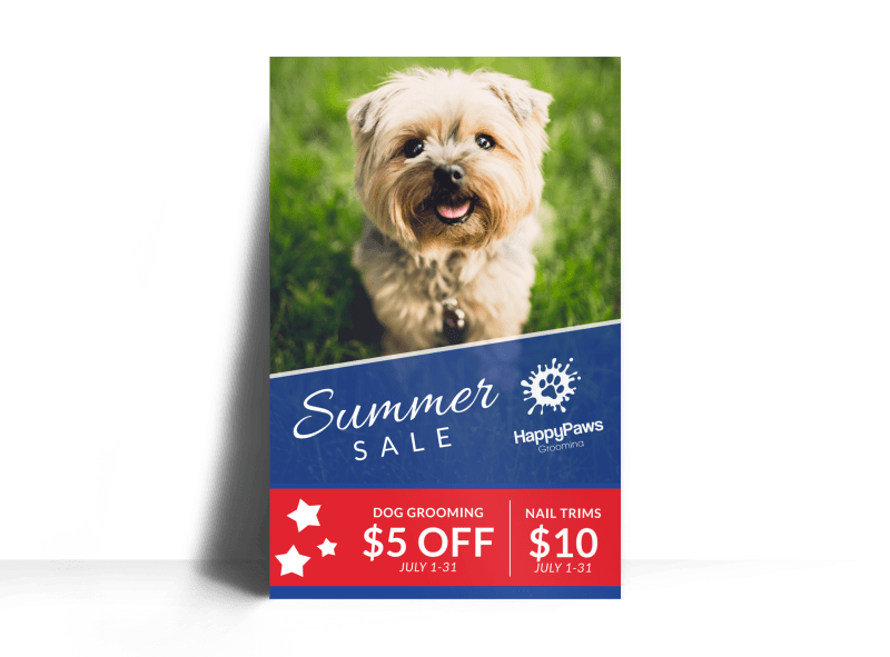 Dog Grooming Summer Sale Poster Template Preview 1
