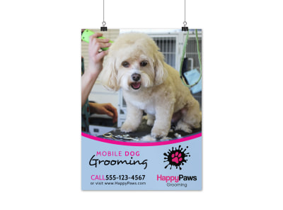 Mobile Dog Grooming Poster Template preview