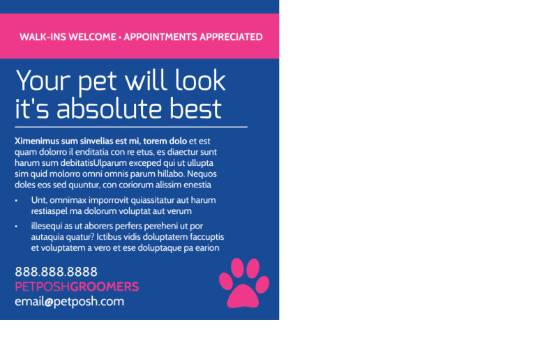 Pro Dog Grooming Postcard Template Preview 3