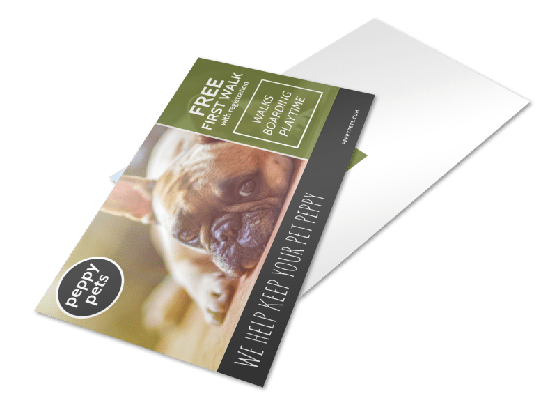 Dog Walking Promo Postcard Template Preview 1