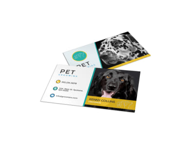 Pro Pet Grooming Business Card Template preview
