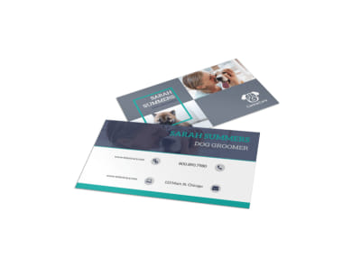 Pro Dog Grooming Business Card Template preview