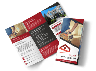 Red Home Inspection Tri-Fold Brochure Template preview