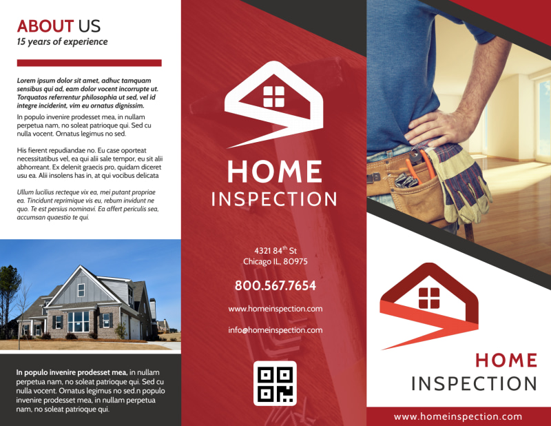 Red Home Inspection Tri-Fold Brochure Template Preview 2