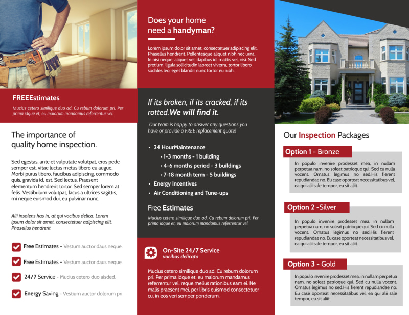 Red Home Inspection Tri-Fold Brochure Template Preview 3