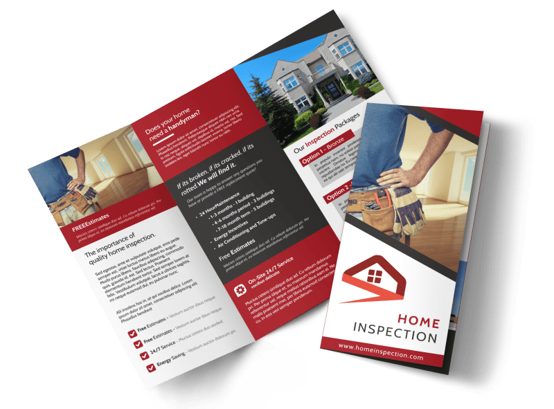 Red Home Inspection Tri-Fold Brochure Template Preview 1
