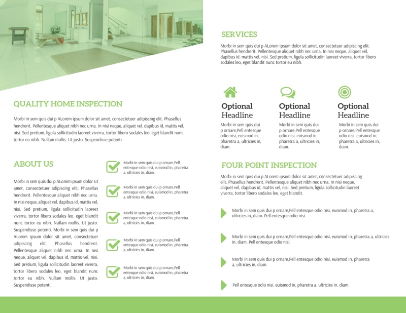 Green Home Inspection Bi-Fold Brochure Template Preview 3