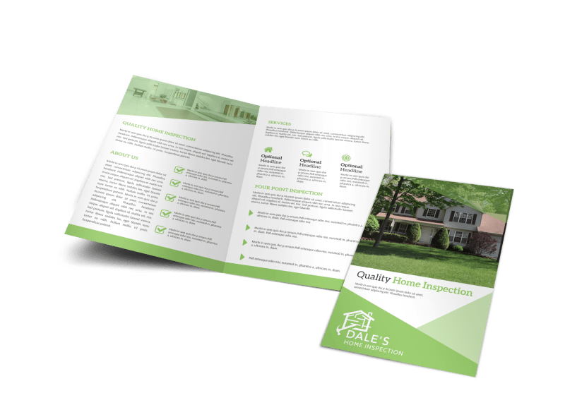 Green Home Inspection Bi-Fold Brochure Template Preview 1
