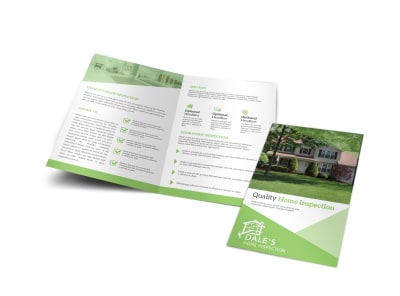 Green Home Inspection Bi-Fold Brochure Template preview