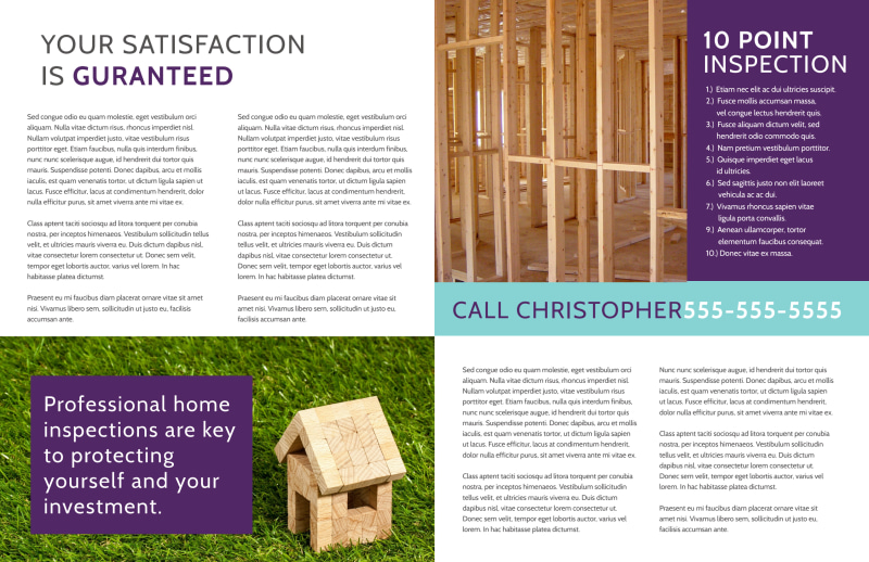 Home Inspection Guide Bi-Fold Brochure Template Preview 3