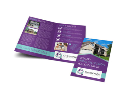 Purple Home Inspection Bi-Fold Brochure Template preview