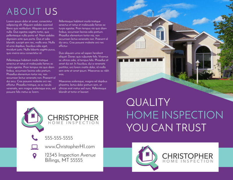 Purple Home Inspection Bi-Fold Brochure Template Preview 2