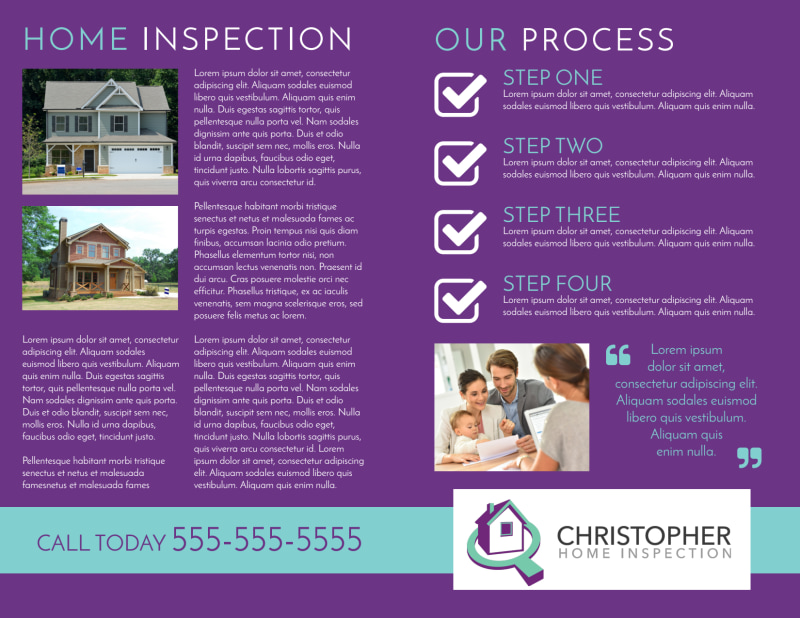 Purple Home Inspection Bi-Fold Brochure Template Preview 3