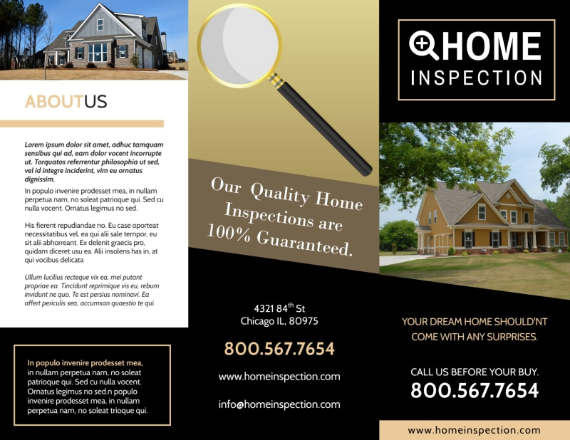 Classic Home Inspection Tri-Fold Brochure Template Preview 2