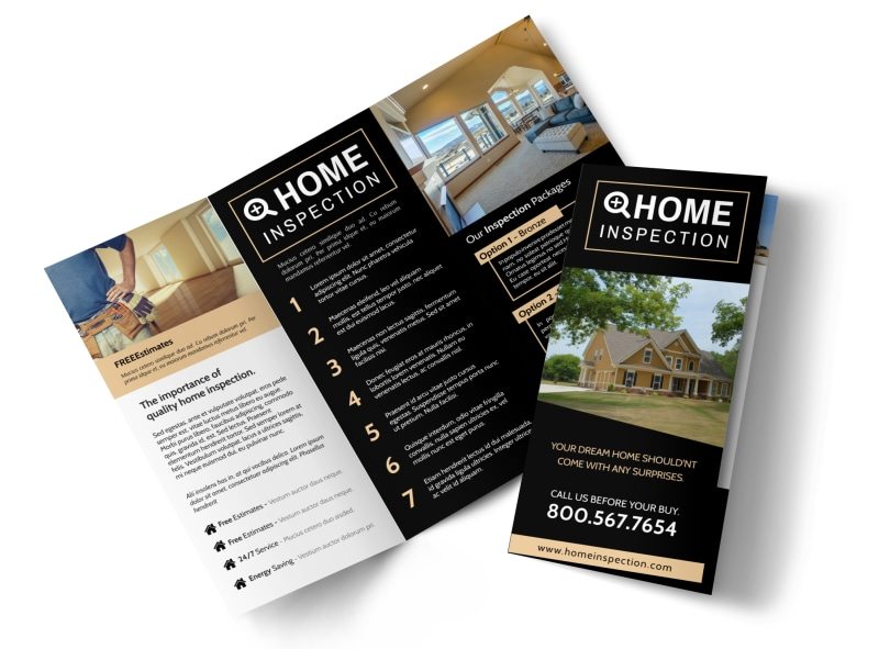 Classic Home Inspection Tri-Fold Brochure Template Preview 4