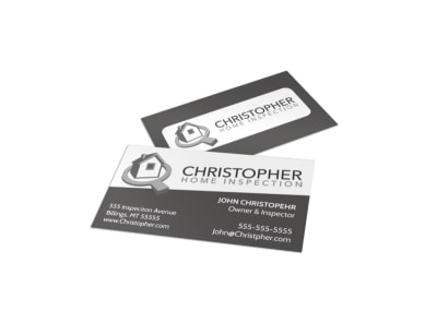 Black & White Home Inspection Business Card Template preview