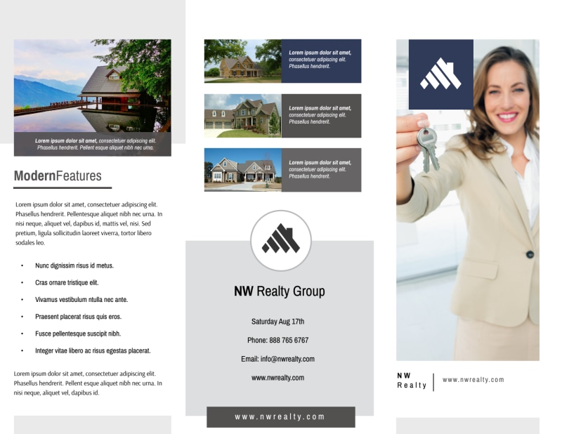 Our Real Estate Team Tri-Fold Brochure Template Preview 2